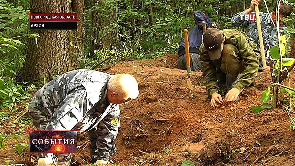 Раскопки погибших бойцов 2-й ударной армии