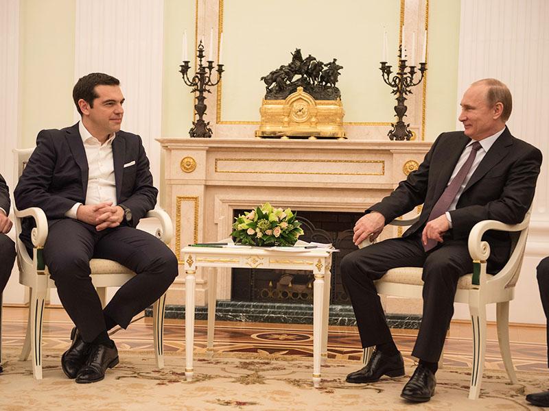 Премьер-минстр Греции Алексис Ципрас и президент России Владимир Путин