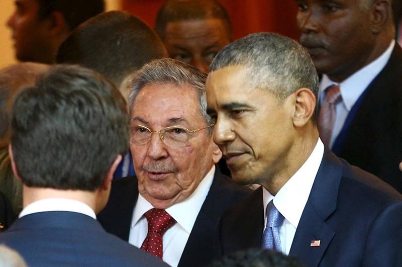Председатель Госсовета коммунистической Кубы Рауль Кастро и президент США Барак Обама
