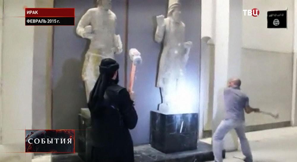 Боевики разрушают здания и статуи в древнем городе Нимруд на территории Ирака