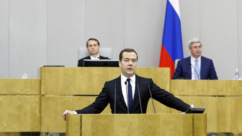 Председатель правительства России Дмитрий Медведев выступает в Госдуме РФ