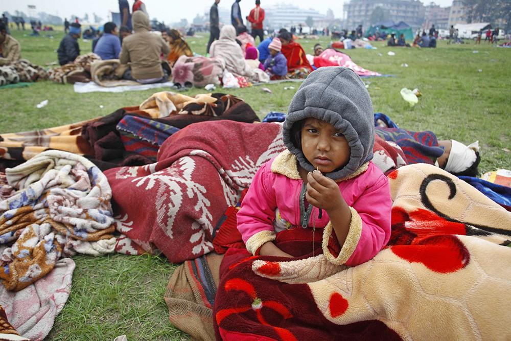 Пострадавший от землетрясения в Непале