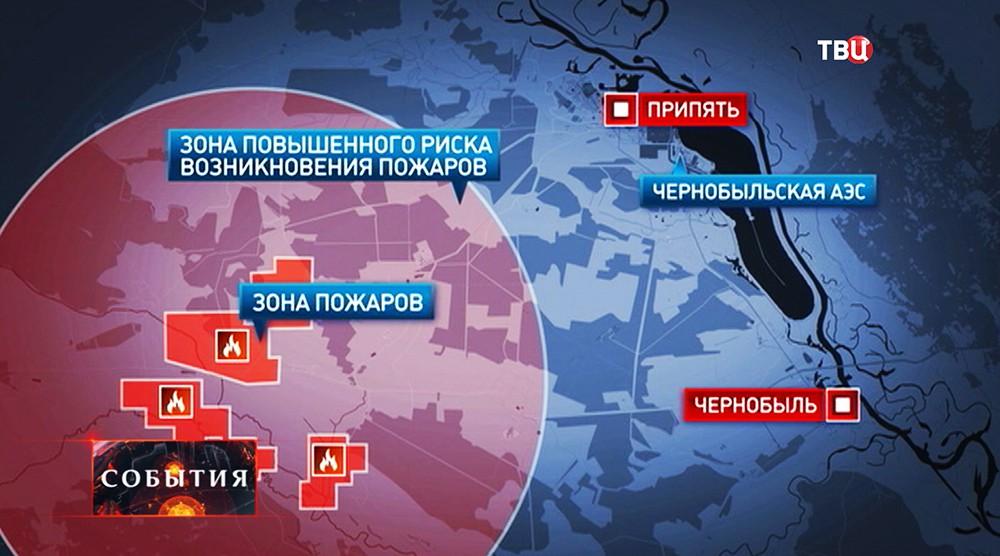Зона пожаров на карте
