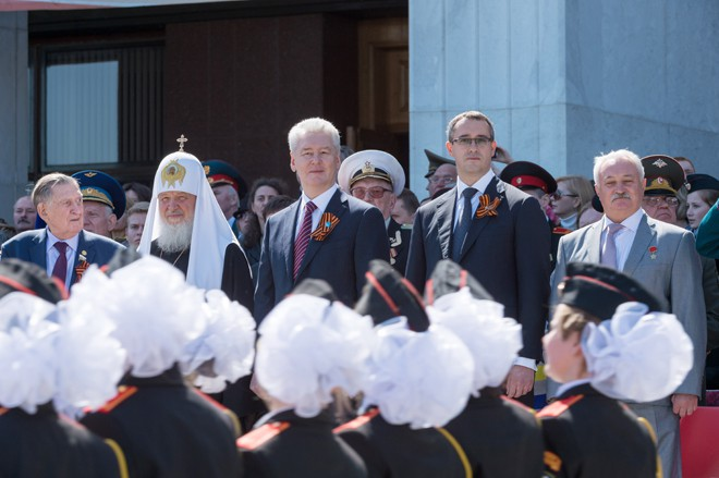 Сергей Собянин на торжественном Параде кадетских формирований