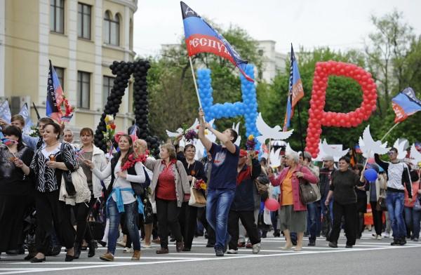 Участники парада в ДНР