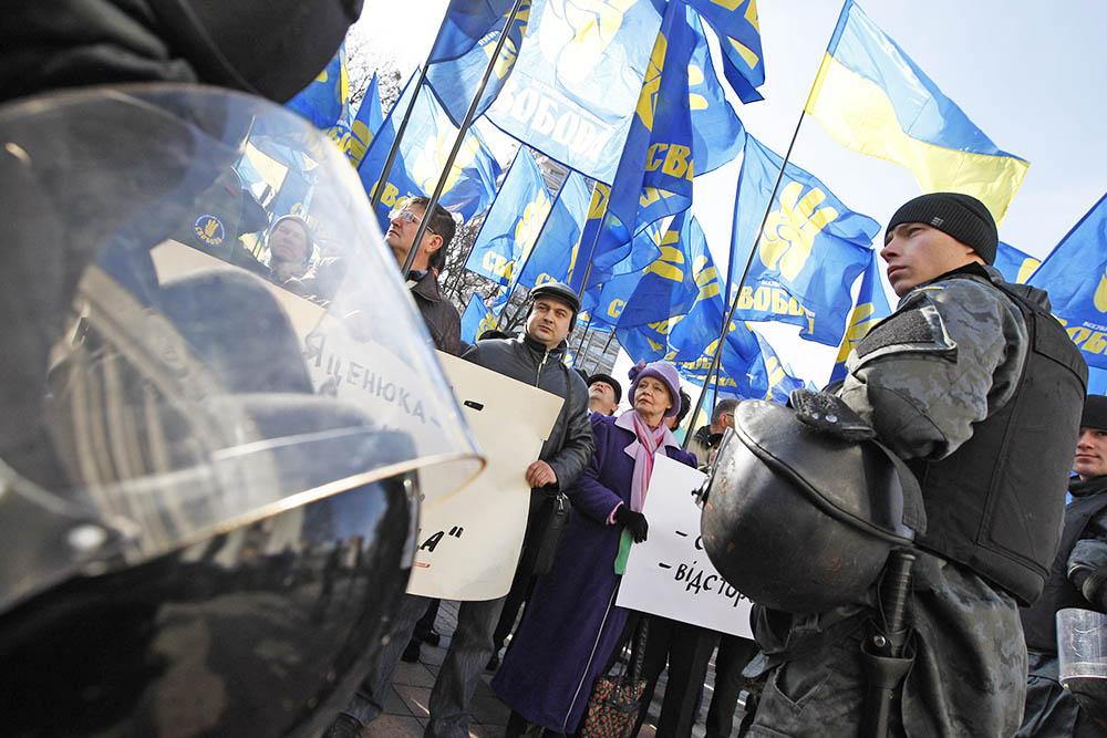 Украинская милиция во время митинга