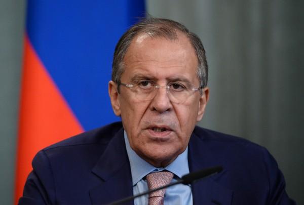 Министр иностранных дел России Сергей Лавров во время пресс-конференции