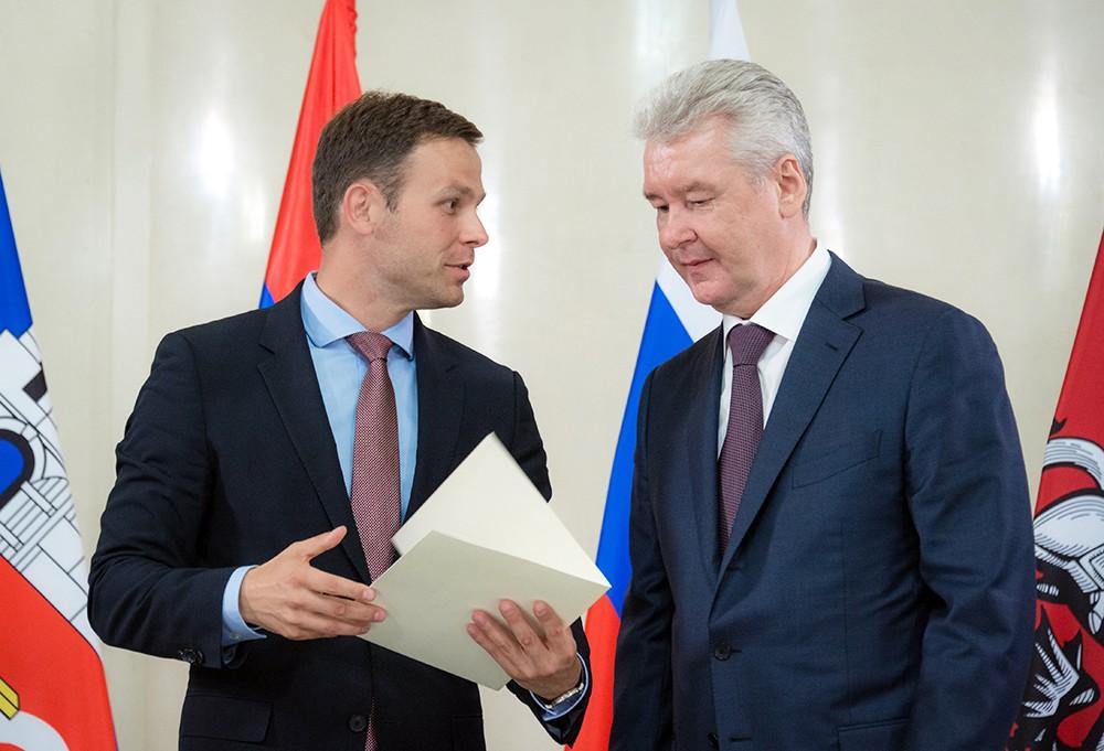 Мэр Белграда Синиш Мали и мэр Москвы Сергей Собянин