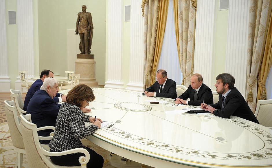 Владимир Путин принял в Кремле Министра иностранных дел Сирийской Арабской Республики Валида Муаллема