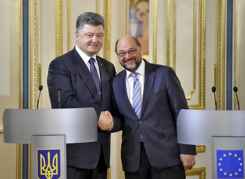 Президент Украины Петр Порошенко и председатель Европарламента Мартин Шульц