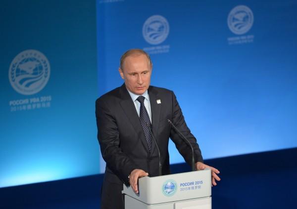 Президент Российской Федерации Владимир Путин выступает на пресс-конференции в Уфе