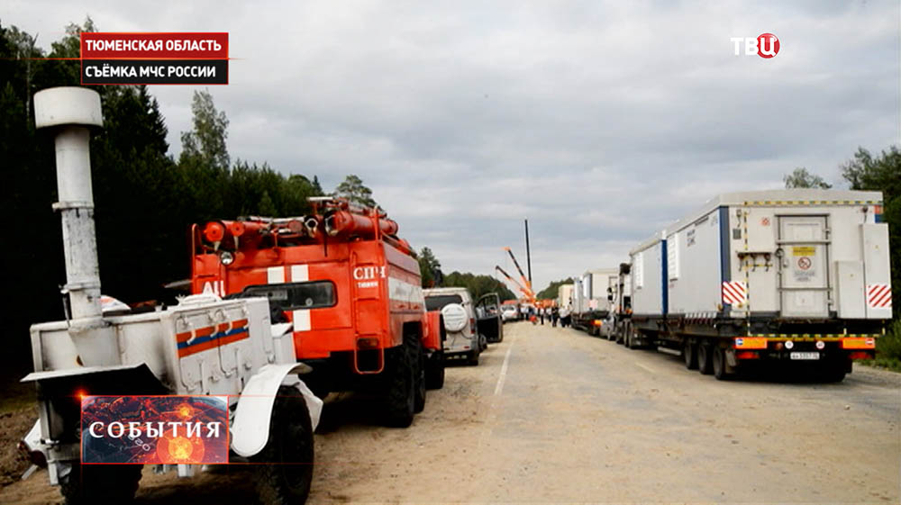 Восстановительные работы на аварийном участке трассы Тюмень - Ханты-Мансийск