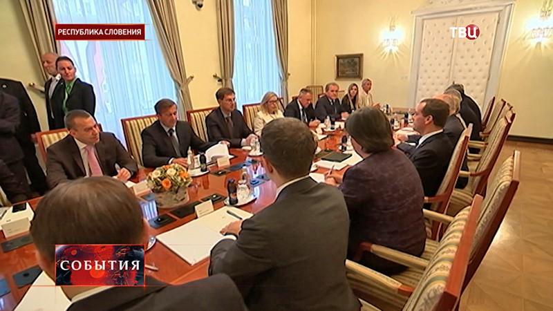 Глава российского правительства Дмитрий Медведев во время встречи