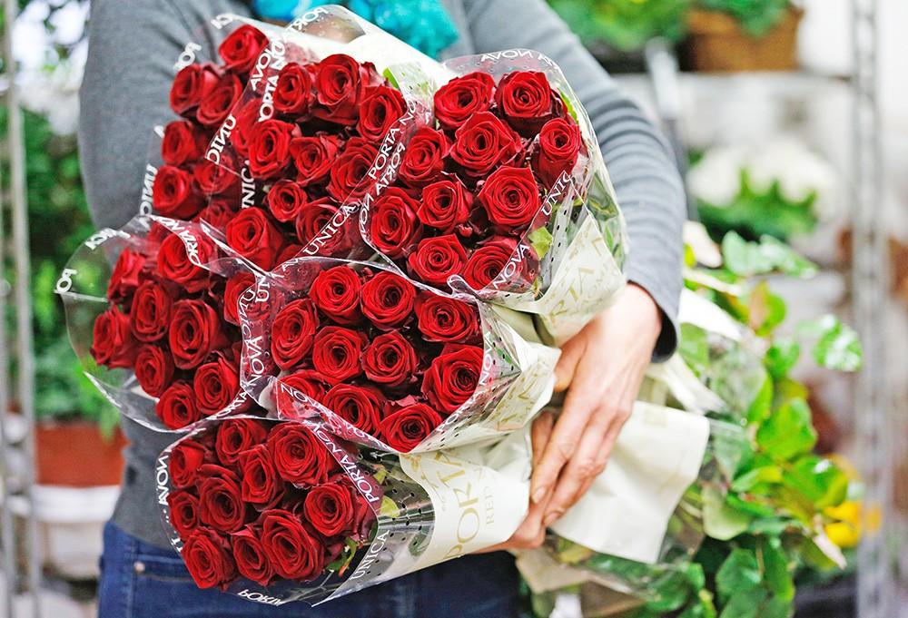Розы в цветочном магазине