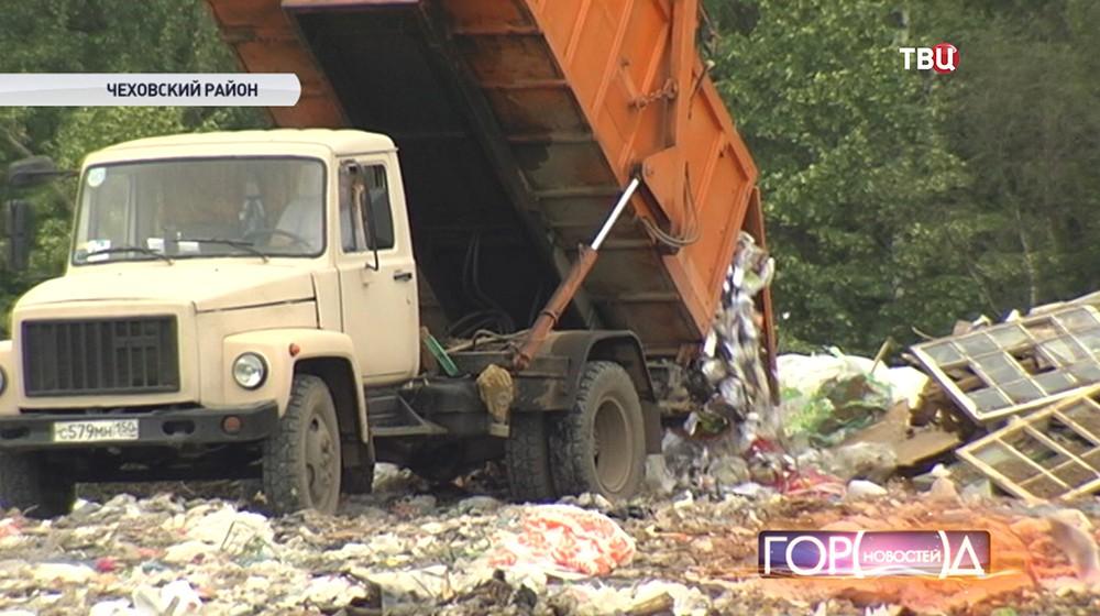 Свалка мусора в Чеховском районе Подмосковья
