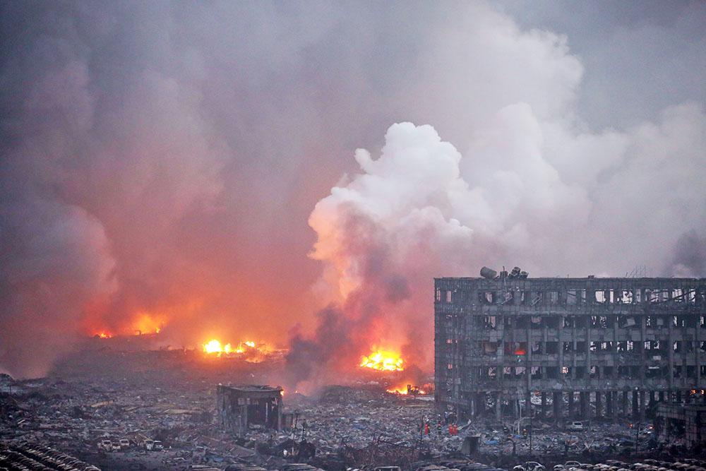 Пожар на складе в Китае