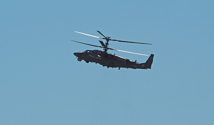 Вертолёт Ка-52 на авиасалоне МАКС-2015