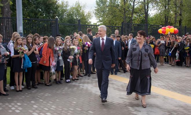 Сергей Собянин на торжественной линейке