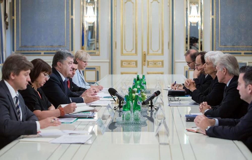 Встреча главы МВФ Кристин Лагард и президент Украины Пётра Порошенко