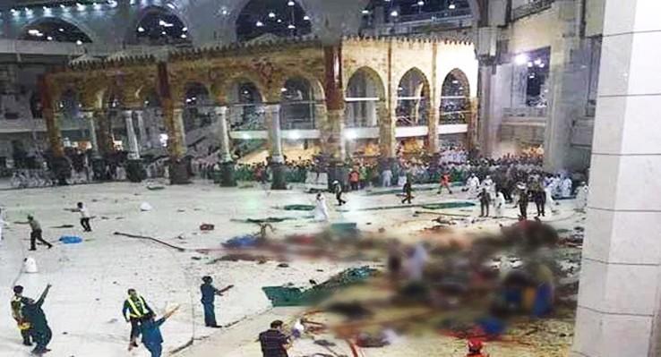 Последствия падения подъёмного крана в мечети в Мекке