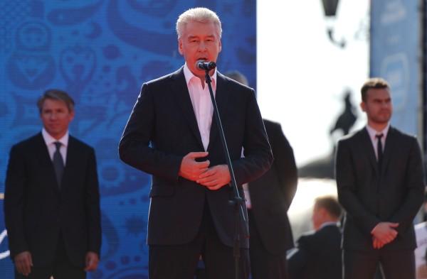Мэр Москвы Сергей Собянин выступает во время мероприятий в рамках празднования 1000 дней до ЧМ-2018 в России