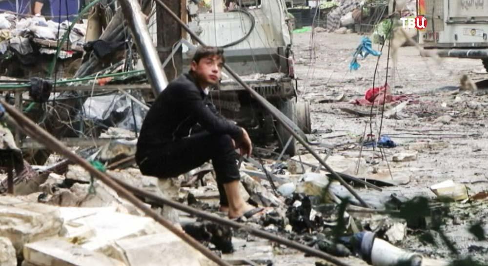 Результат артобстрела сирийского города Алеппо