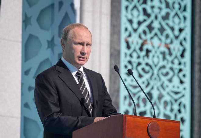 Вадимир Путин на открытии Московской соборной мечети