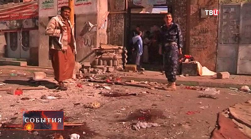 Место взрыва Йемене