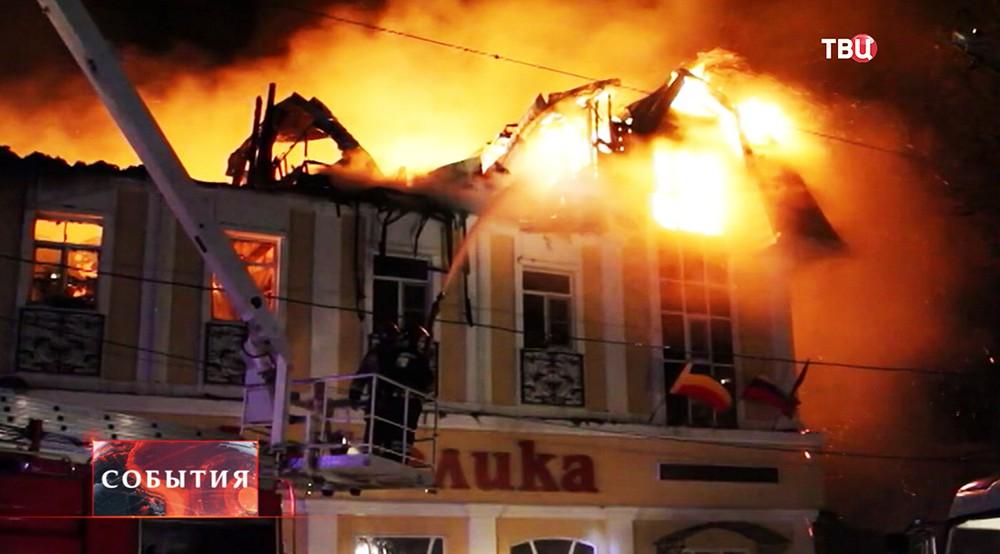 Пожар в здании кафе