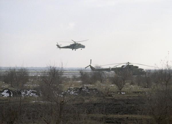 Расположение федеральных войск в районе села Первомайское, на границе с Чечней