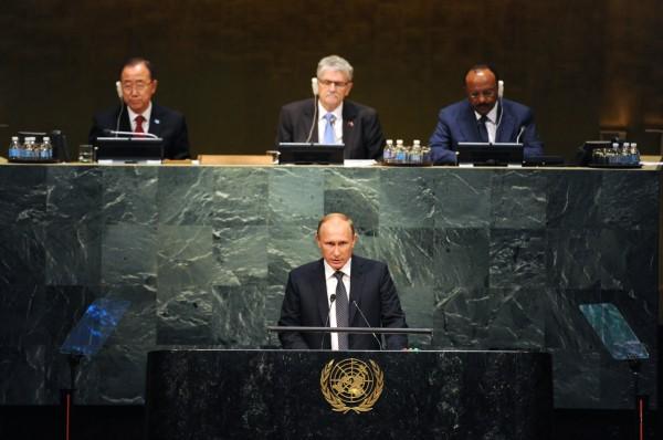 Президент России Владимир Путин во время выступления на пленарном заседании 70-й сессии Генеральной Ассамблеи ООН в Нью-Йорке