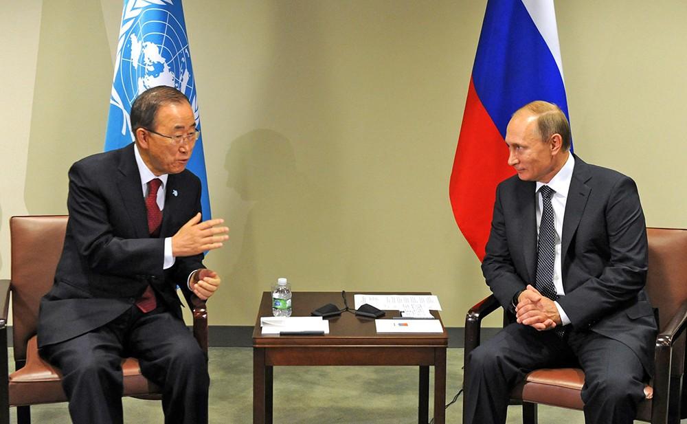 Президент России Владимир Путин встретился с Генеральным секретарём ООН Пан Ги Муном