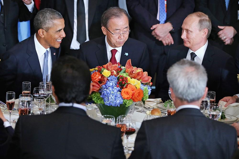 Барак Обама, Пан Ги Мун и Владимир Путин