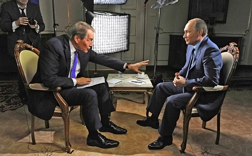 Президент России Владимир Путин даёт интервью для американского телеканала CBS