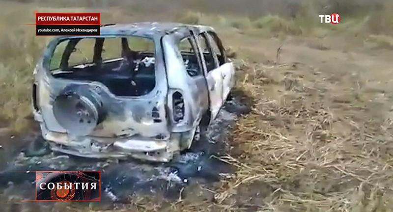 Сгоревшая машина в Татарстане