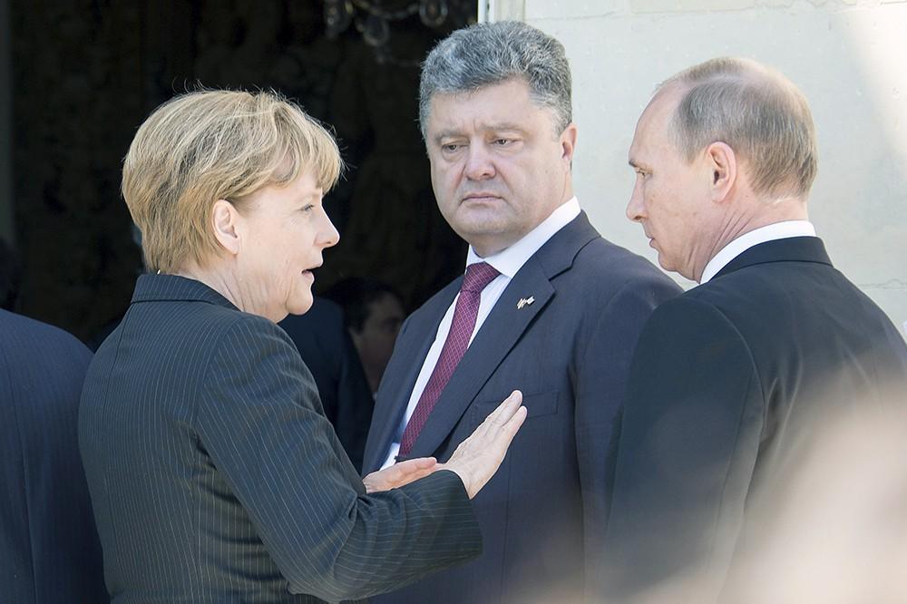 Ангела Меркель, Пётр Порошенко и Владимир Путин
