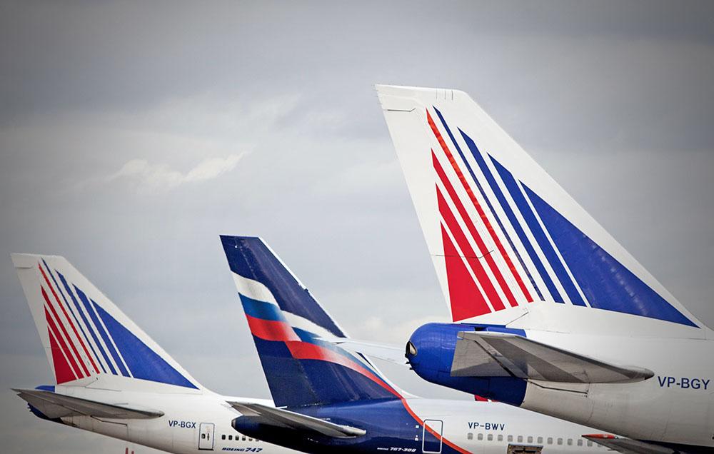 """Самолеты авиакомпаний """"Трансаэро"""" и """"Аэрофлот"""""""