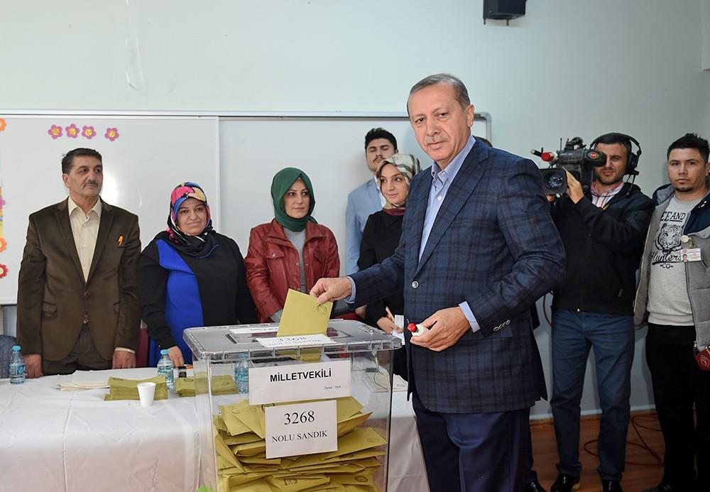 Президент Турциии Реджеп Тайип Эрдоган на выборах