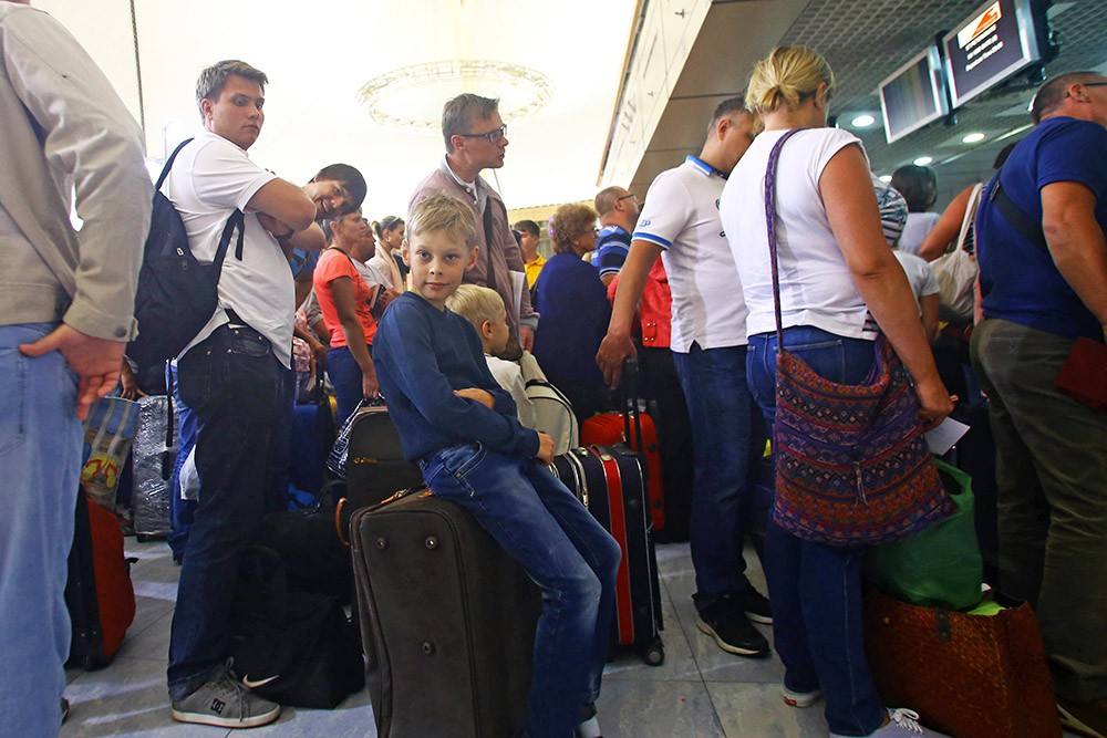 Туристы в аэропорту Египта