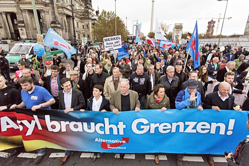 Антимиграционный митинг в Германии