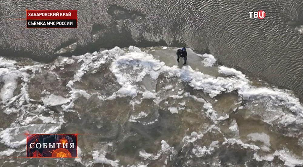 Подростки на льдине в Хабаровском крае