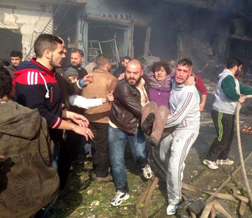 Пследствия взрыва в Сирии
