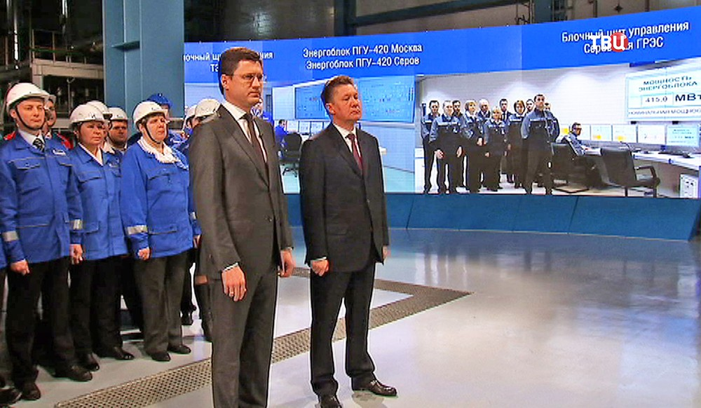 Александр Новак и Алексей Миллер во время телемоста