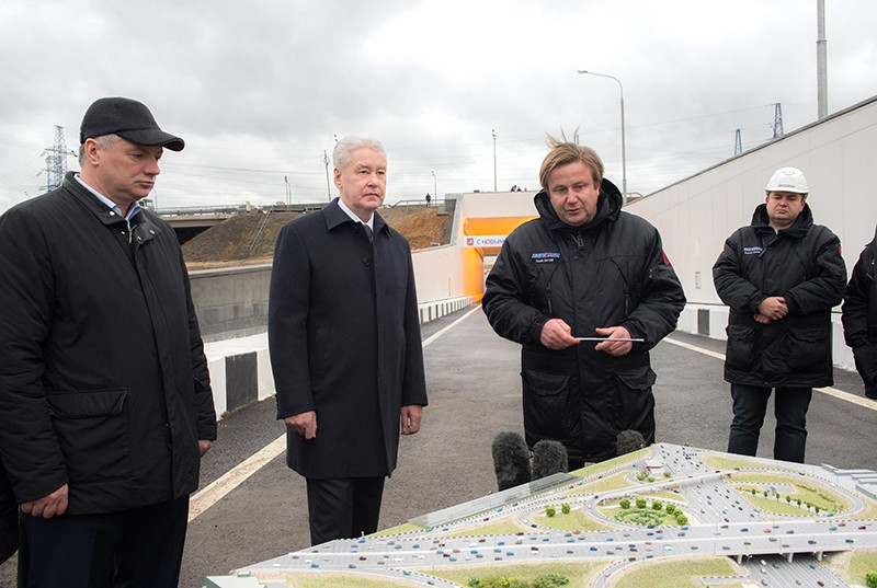Сергей Собянин на реконструкции развязки МКАД