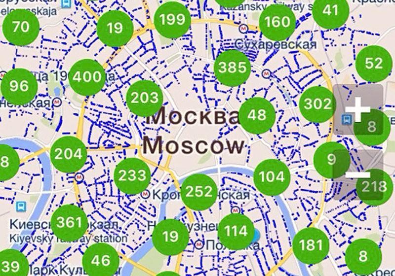 Зона платной парковки на карте мобильного приложения