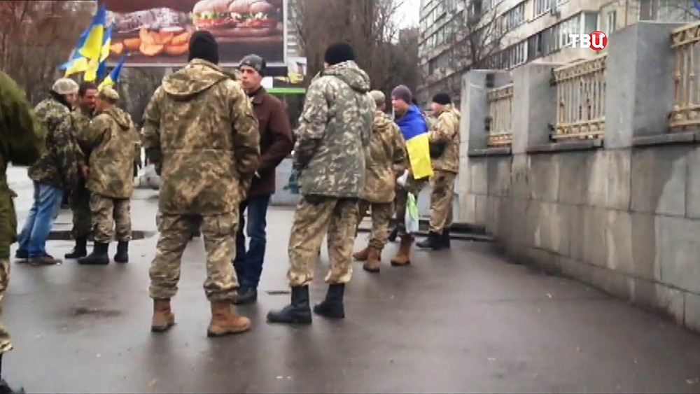 Митинг украинских военных
