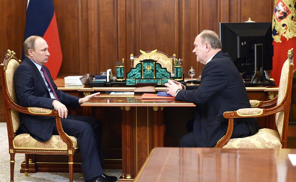 Президент России Владимир Путин и лидер КПРФ Геннадий Зюганов