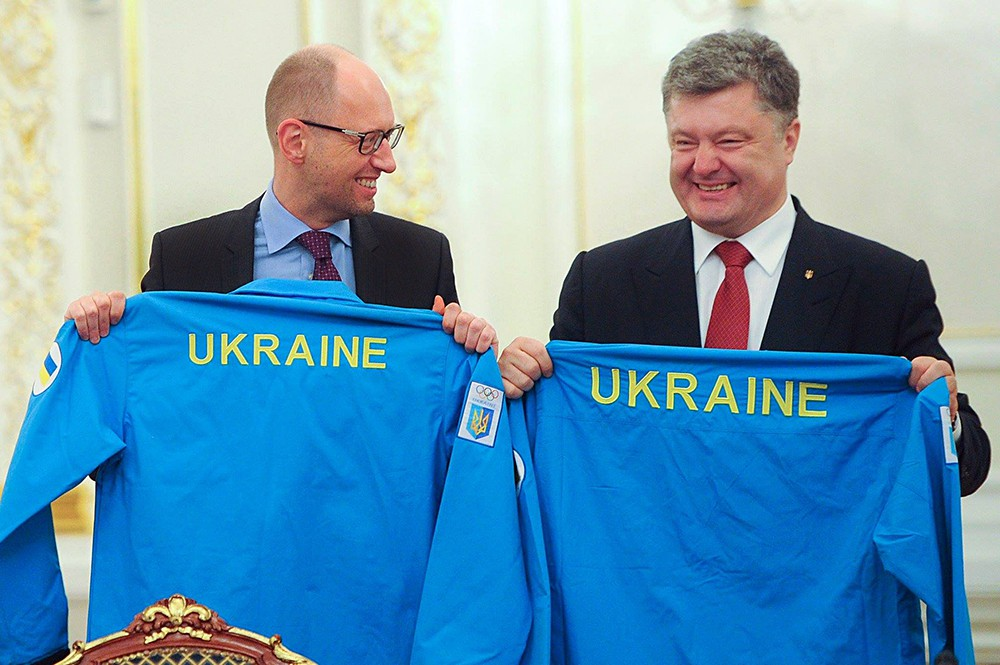 Президент Украины Пётр Порошенко и премьер минист Арсений Яценюк