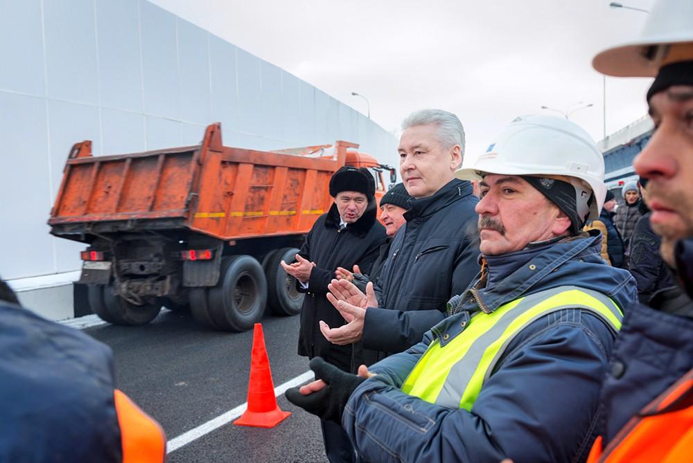 Сергей Собянин на открытии транспортной развязки