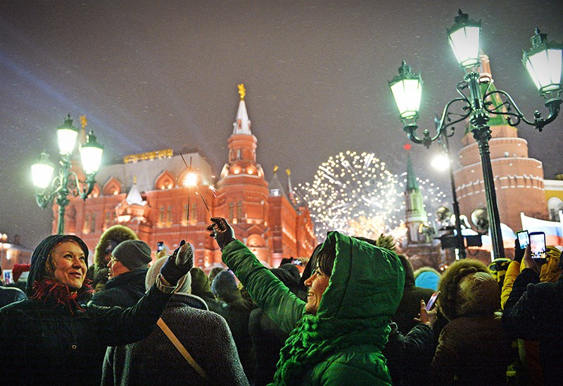 Празднование Нового года на Манежной площади